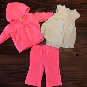 0-3 Month Pink & Green Outfit Bundle